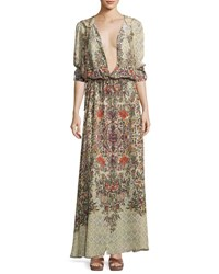 Haute Hippie Sandstorm Hooded Floral Silk Cloak Talitha