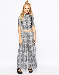 Monki Relaxed Wide Leg Trousers Multi