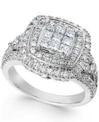 Macy's Diamond Art Deco Engagement Ring In 14K White Gold 1 1 2 Ct. T.W.