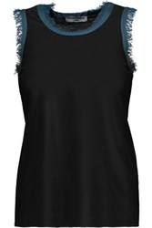 Opening Ceremony Frayed Knitted Top Black