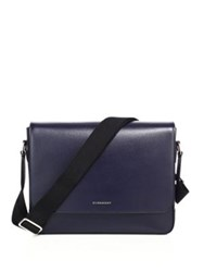 Burberry Medium London Leather Briefcase Dark Navy
