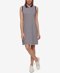 Tommy Hilfiger Striped Polo Dress Only At Macy's Navy Stripe