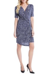 Karen Kane Women's Geo Print Cascade Faux Wrap Dress
