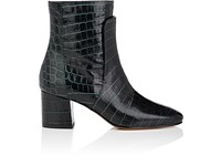 Givenchy Women's Paris Croc Stamped Leather Ankle Boots Dark Green Green