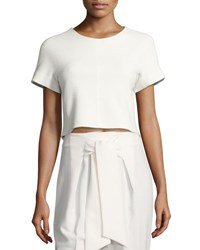 Rebecca Taylor Textured Short Sleeve Crop Top With Lace Back White