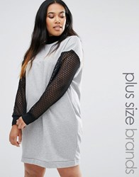 Pink Clove Long Sleeve Sweat Dress With Mesh Inserts Grey