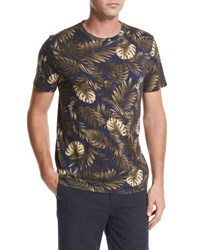 Vince Leaf Print Crewneck Pima Cotton T Shirt Navy