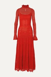 Alexander Mcqueen Ruffled Crocheted Cotton Blend Lace Maxi Dress Red