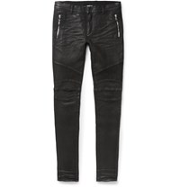 Balmain Slim Fit Coated Stretch Denim Biker Jeans Black