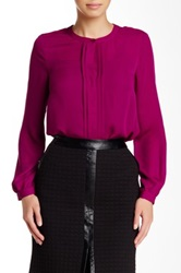 Laundry By Shelli Segal Pleated Accent Long Sleeve Blouse Purple