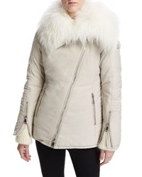 Moncler Choisia Asymmetric Zip Jacket W Fur Trim Camel