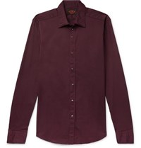 Tod's Slim Fit Garment Dyed Stretch Cotton Twill Shirt Merlot