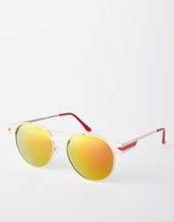 Aj Morgan Round Sunglasses Gold