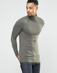 Asos Extreme Muscle Long Sleeve T Shirt With Roll Neck In Khaki Khaki Green