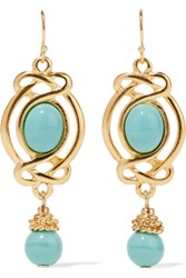 Ben Amun Gold Plated Bead And Enamel Earrings Turquoise