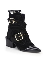 Sacai Belted Cap Toe Suede Ankle Boots Black