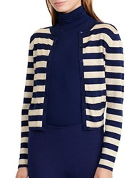Lauren Ralph Lauren Petite Striped Metallic Cardigan Navy