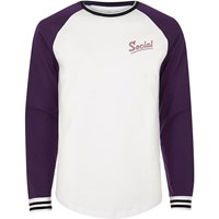River Island Mens White And Purple Social Print Baseball Top