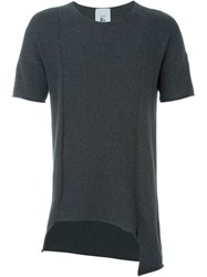 Lost And Found Rooms Asyymmetric Knitted T Shirt Grey