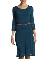Sharagano Long Sleeve Texture Striped Dress Dark Teal