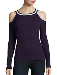 Chaus New York Ribbed Cold Shoulder Top Evening Navy