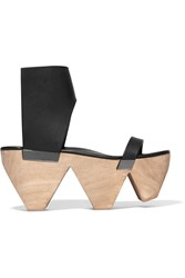 Rick Owens Leather Platform Sandals Black