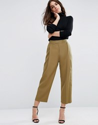 Asos Relaxed Crop Trouser With Pleat Front Olive Green