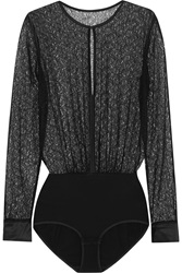 Eres Batignolles Honore Stretch Leavers Lace And Stretch Jersey Bodysuit