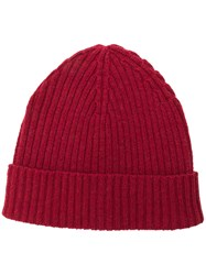 Eleventy Ribbed Knit Beanie Red