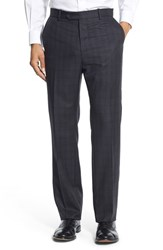 Monte Rosso Men's Big And Tall Flat Front Windowpane Wool Trousers Navy Blue