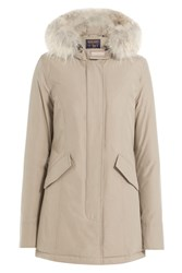 Woolrich Arctic Down Parka With Fur Trimmed Hood Beige
