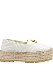 Gucci Chevron Leather Espadrille With Double G White
