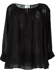 Forte Forte Sheer Peasant Blouse Black