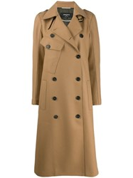 Rochas Double Breasted Trench Coat Neutrals