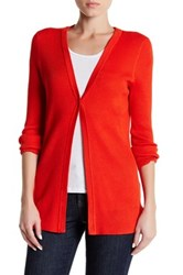 Cable And Gauge Rib Knit Cardigan Red