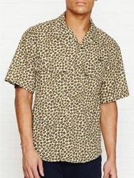 Vivienne Westwood Anglomania Leopard Print Short Sleeve Bowling Shirt Yellow