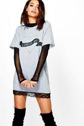 Boohoo Valentines Printed Lace T Shirt Dress Grey Marl