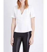 French Connection Arrow Peplum Crepe Top Winter White