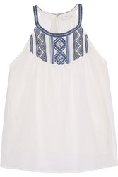 Joie Landry Embroidered Cotton Gauze Top White