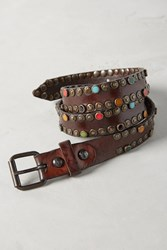 Anthropologie Studded Skinny Loop Belt Brown