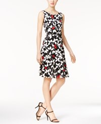 Nine West Belted Floral Print A Line Dress Black White Red