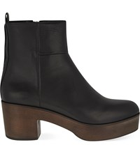 Whistles Helle Leather Clog Boots Black