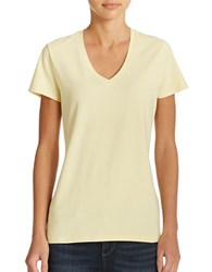 Lord And Taylor Plus Stretch Cotton V Neck Tee Limoncello