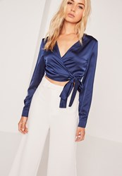Missguided Long Sleeve Satin Wrap Front Crop Navy Blue
