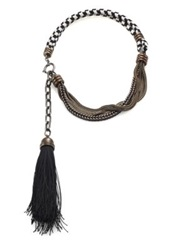 Lanvin Chain And Rope Tassel Necklace Gunmetal