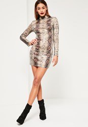 Missguided Nude Snake Sequin Bodycon Dress Animal