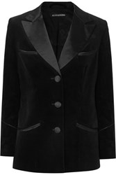 Alexachung Satin Trimmed Cotton Velvet Blazer Black