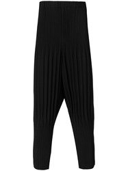 Homme Plisse Issey Miyake Ribbed Drop Crotch Pants Polyester Black