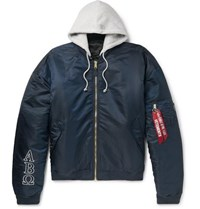 Vetements Alpha Industries Oversized Reversible Embroidered Shell Hooded Bomber Jacket Navy