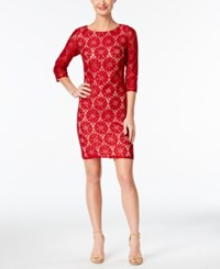 Jessica Howard Illusion Sleeve Lace Sheath Dress Red